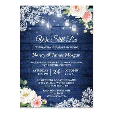 Small Vow Renewal Rustic Blue String Lights Lace Floral Invitation Front View