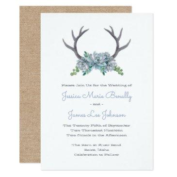 watercolor antlers and echeveria country wedding