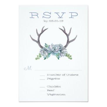Small Watercolor Antlers And Echeveria Wedding Rsvp Invitation Front View
