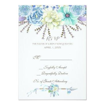 Small Watercolor Arrows Feathers Floral Boho Tribal Invitationss Front View