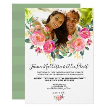 watercolor blush coral pink floral photo wedding invitation