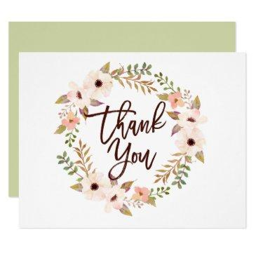 watercolor bohemian floral wreath thank you