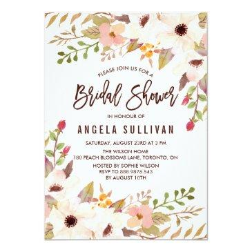Small Watercolor Bohemian Flowers Bridal Shower Invitationss Front View
