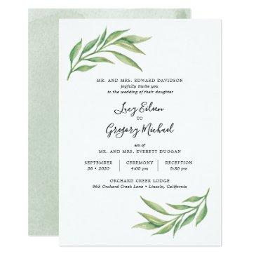 watercolor botanical leaves wedding invitation