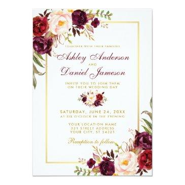 Small Watercolor Burgundy Floral Gold Wedding Invitation Front View