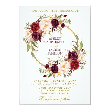 watercolor burgundy floral wreath gold wedding