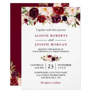 watercolor burgundy red floral rustic boho wedding