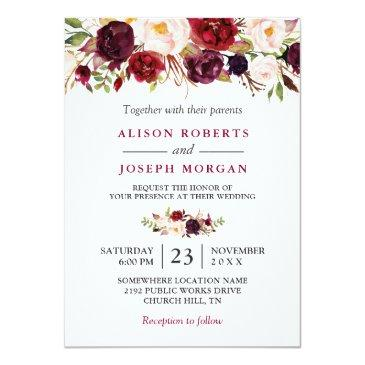 Small Watercolor Burgundy Red Floral Rustic Boho Wedding Invitation Front View