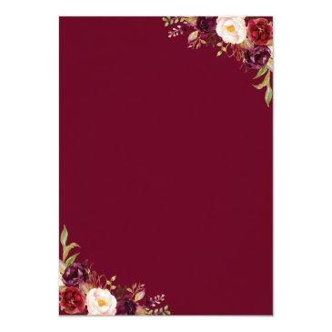 Small Watercolor Burgundy Red Floral Rustic Boho Wedding Invitation Back View