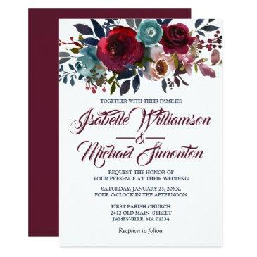 watercolor burgundy red floral wedding