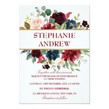 Small Watercolor Burgundy Red Navy Floral Rustic Boho Invitationss Front View
