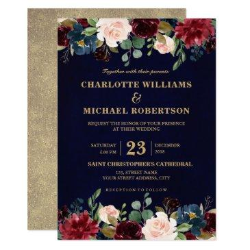 watercolor burgundy red navy floral rustic boho invitations