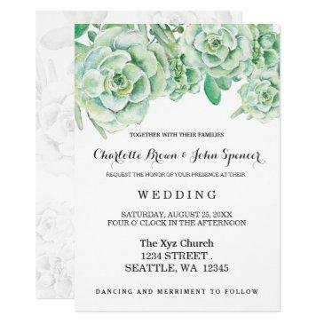 Watercolor Celadon Succulent Wedding