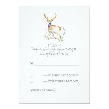 Small Watercolor Deer Antlers Wedding Rsvp Invitation Front View