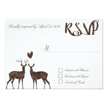 Small Watercolor Deers Rsvp Invitation Front View