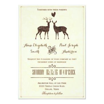 Small Watercolor Deers Wedding Invitation Front View