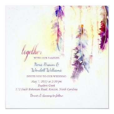 watercolor dreamcatcher feathers wedding invitations