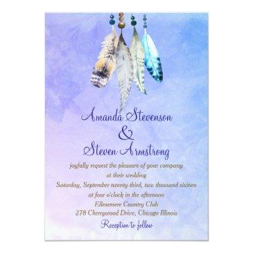 Small Watercolor Feathers On Bluish Purple Wedding Front View
