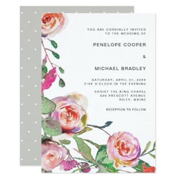 watercolor floral and dots wedding