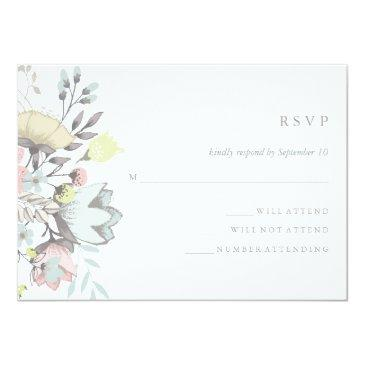 Small Watercolor Floral Botanical Wedding Rsvp Invitation Front View