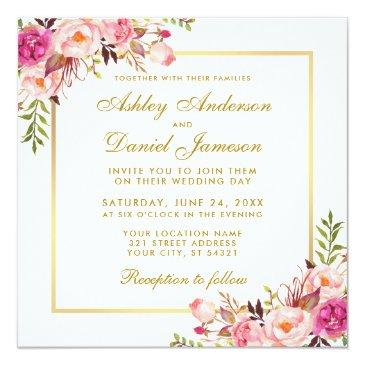 watercolor floral pink blush gold wedding invitations s
