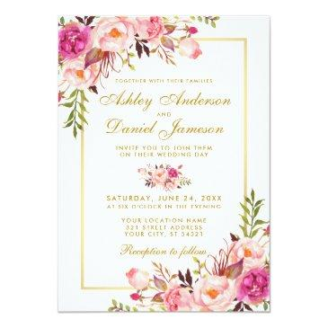 watercolor floral pink blush gold wedding invitations