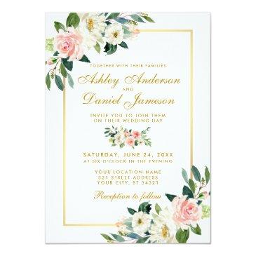 watercolor floral pink blush white gold wedding invitation