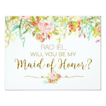 watercolor floral will you be maid of honor