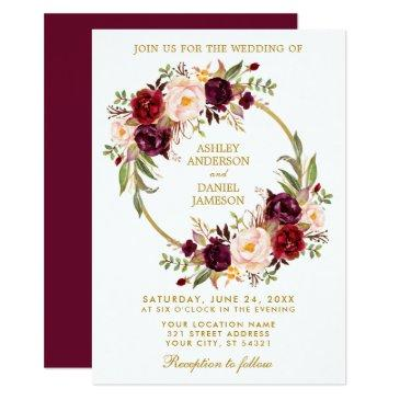 watercolor floral wreath burgundy gold wedding b