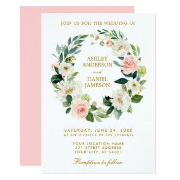 watercolor floral wreath pink white gold wedding p invitation