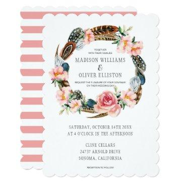 watercolor floral wreath with feathers | wedding invitations