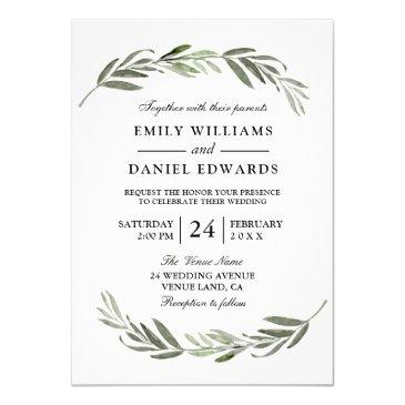watercolor leaf wreath elegant wedding invite
