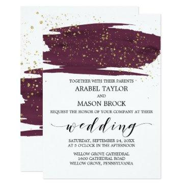 watercolor marsala and gold sparkle wedding