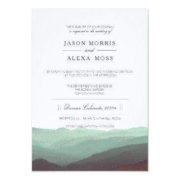 Small Watercolor Mountains | Elegant Wedding Invitationss Front View