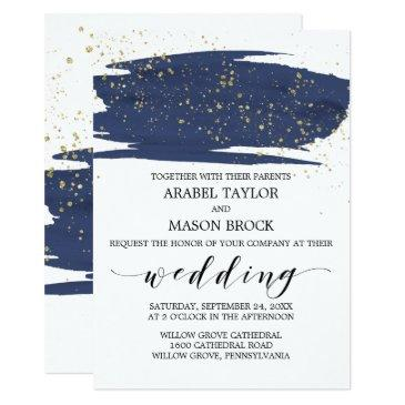 watercolor navy and gold sparkle wedding