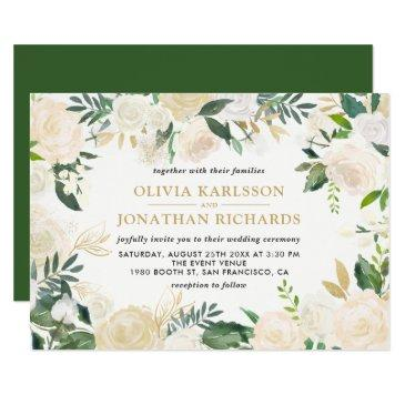watercolor pale peonies gold accent wedding
