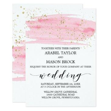 watercolor pink blush and gold sparkle
