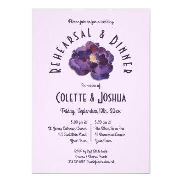 watercolor plum floral rehearsal dinner