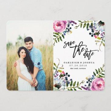 watercolor pretty flowers save the date with photo