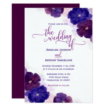 watercolor purple plum royal blue floral wedding