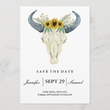 watercolor rustic rodeo | save the date sunflowers