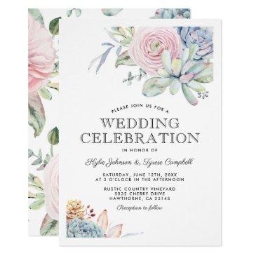 watercolor succulent floral bloom vintage wedding