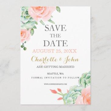watercolor succulent peach roses save the dates save the date