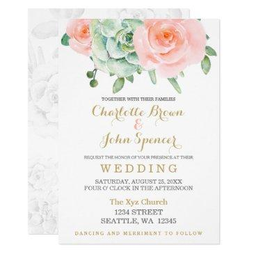 watercolor succulent peach roses wedding