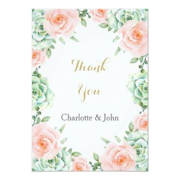 watercolor succulent peach roses wedding thank you