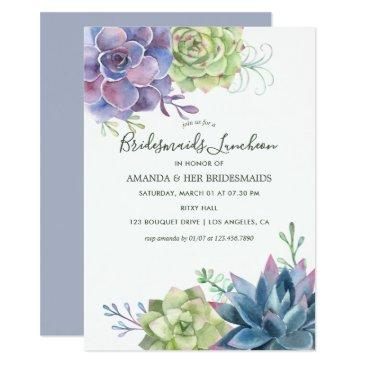 watercolor succulents wedding bridesmaids luncheon