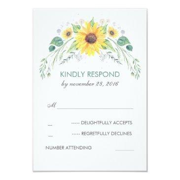 watercolor sunflowers rustic wedding rsvp