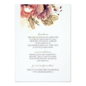 Small Watercolor Vintage Floral Wedding Information Front View