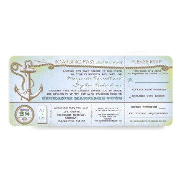 wedding boarding pass-vintage tickets with rsvp