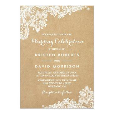 Small Wedding Celebration Classy Floral Lace Kraft Front View